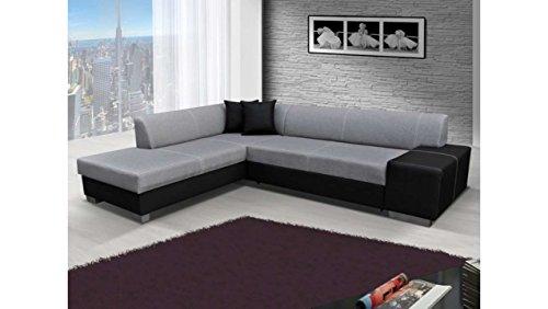 Justhome porto divano angolare divano letto tessuto a strutturale finta pelle(axlxp): 73x278x216 cm grigio nero penisola a sinistra