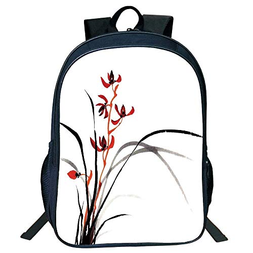HOJJP Schultasche Stylish Unisex School Students Japanese,Classic Cultural Chinese Ink Paint Print Native Wild Orchids Reflexive Birches,Red Black Kids