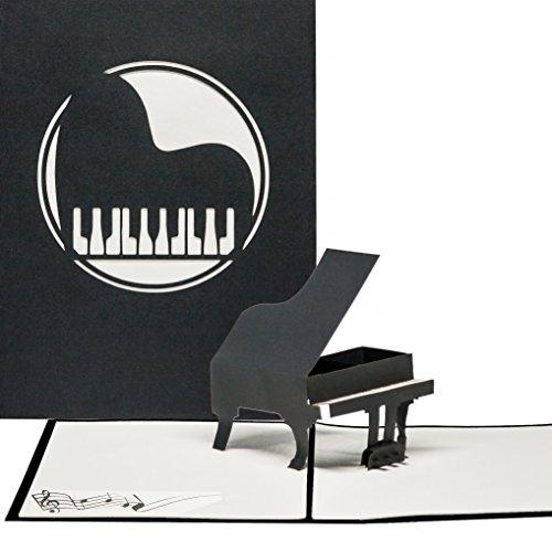"""Pop Up Grußkarte""""Piano"""" - 3D Geburtstagskarte Klavier, Geschenkgutschein, Pop Up Gutscheinkarte Konzert, Klappkarte Klavier, Konzertgutschein"""