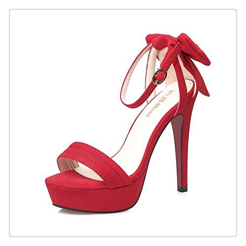 happy&live Nightclub Sandals Women's Fine with Open Toe Platform High Heel Bow Sexy Hate High T-Shoe Model Walk Show Red 6.5