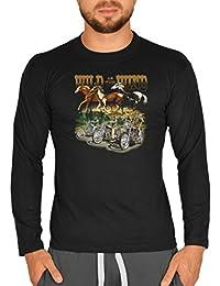 Biker Mustang Pferde Motiv Longsleeve : Wild as the Wind -- Herren Langarmshirt / schwarz