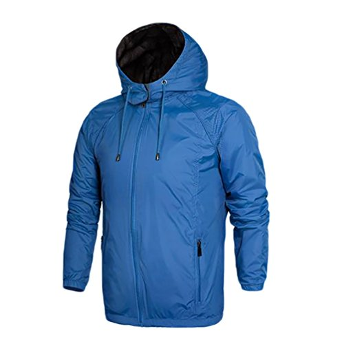 YOUJIA Hommes Manteau de Parka à Capuche Coupe Vent Hiver Veste Imperméable Blouson Bleu