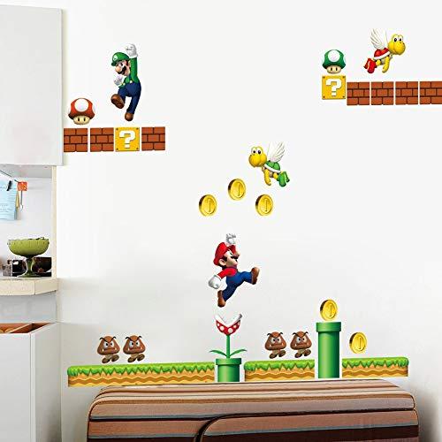 WANGJIA Klassische Spiel Super Mario Wandaufkleber Für Kinderzimmer Wohnkultur Cartoon Wandkunst Spielzimmer Diy Kindergarten Wandtattoos