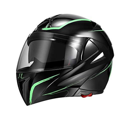 WLAY Casco para Motocicleta Flip Up Full Face Doble Lente Forro Extraíble Y Lavable Diseño Aerodinámico Casco Modular,Green-XXL