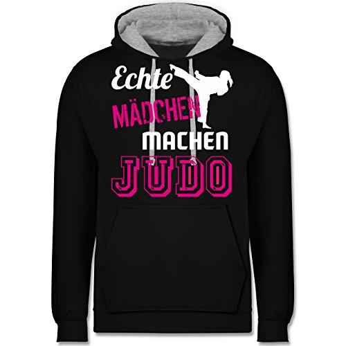 Shirtracer Kampfsport - Echte Mädchen Machen Judo - XS - Schwarz/Grau meliert - JH003 - Kontrast Hoodie