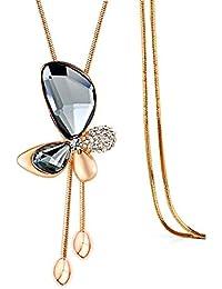 Merdia Collar De Cadena Larga Colgante De Mariposa Suéter Collar Con Cristales Creados Joyería En Color Gris