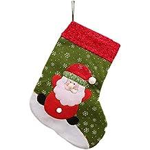 MoGist calcetín de Navidad Rojas Verdes de Papá Noel Muñeco de Nieve Bordado Botas de Navidad