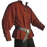 Camisa medieval - Disfraz hombre - color burdeos - XXL