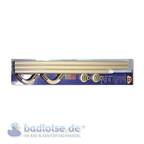 Duschvorhang-Stange 170 x 75 cm Ø 25 mm beige Winkelstange Bade-Wanne Dusche