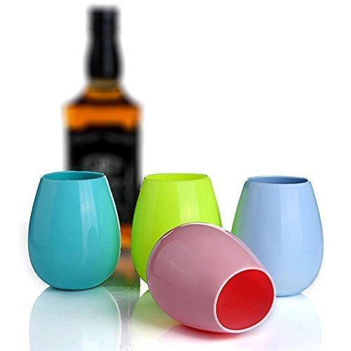 Kuke Silikon Weingläser Set von 4 Unzerbrechlichen Safe Rubber Trinkbecher mit Beutel 4 Farben 12oz