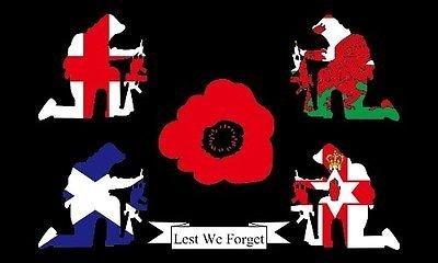 Ersten Weltkrieges, dass wir nicht vergessen Großbritannien merkt sich Poppy 5ft x3ft (150cm x 90cm) 100% Polyester Flagge & Ösen