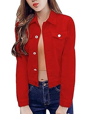 Chaqueta Para Mujer Chaqueta Vaquera Chaqueta Mezclilla Denim Jacket Manga Larga rojo S