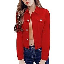 Chaqueta Para Mujer Chaqueta Vaquera Chaqueta Mezclilla Denim Jacket Manga Larga rojo M