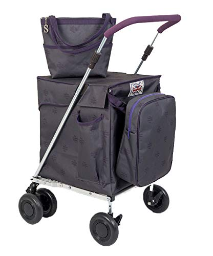 Sholley 'Kensington' Faltbarer Deluxe Einkaufswagen. Robuster zweilagiger Shopper und Mobilitätshilfe zum Gehen, 4, 6 Räder, Handtasche, Kühltasche, kostenloser Innentaschentrenner.