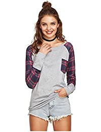 SODIAL(R) Women's New Fashion Spring Autumn Plaid Stitching O-neck Long Sleeves Cotton T shirt Casual Shirts Lady Tee(Gray, S/US-4/UK-8)