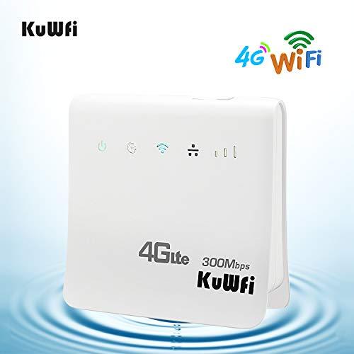 KuWFi WLAN-Router, Entsperrt 300Mbps 4G LTE CPE Mobile WiFi Wireless Router für SIM-Kartensteckplatz mit LAN Port Unterstützung Arbeit mit E-Plus/T-Mobile SIM Karte