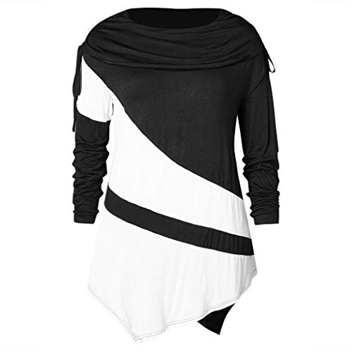 TIFIY Damen langärmlige Shirt Frauenmode Oberteile mit Kragen gerüschte  Asymmetrisch Pullover Sweatshirt (Schwarz,EU 641333e43c
