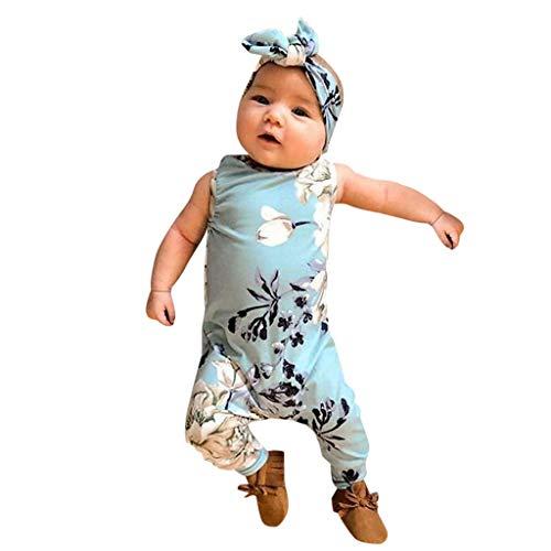 HEETEY Mädchen Strampler Kleid, Infant Baby Boys & Girls Ärmelloser Jumpsuit mit Blumendruck und Stirnband Spielanzug 0-24 Monate Prinzessin Neugeborenes Kleidung