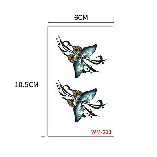 Etiquetas engomadas del tatuaje de la mariposa negro herida azul flores de mariposa 3D tatuaje sudor impermeable pegatinas niños 3pcs-22 60x105mm