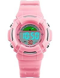 Orologi digitali per ragazze, Orologi sportivi per bambini con 5ATM Impermeabile/Allarme, Orologio da polso digitale LED elettronico per bambini rosa come regalo per bambine e ragazze da UEOTO