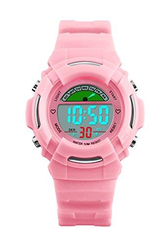 Mädchen Digital Uhren, Kinder Sport Uhren mit 5 ATM wasserdicht/Alarm/EL Licht, Rosa Kinder electonic LED Digital Armbanduhr als Geschenk Uhren für kleine Mädchen von UEOTO
