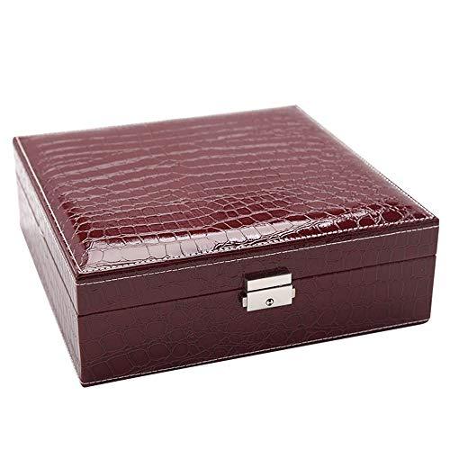 Modeschmuck Fleece Schmuck Box Doppel-Deck Schmuck Aufbewahrungsbox Krokodilleder Schmuckschatulle, 2