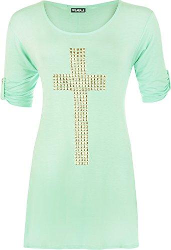 WearAll - Tunique évasée à manches courtes avec un croix clouté - Hauts - Femmes - Grandes tailles 42 à 56 Vert Menthe