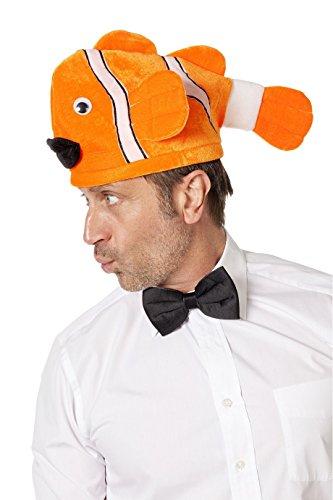 Fisch Fischhut Clownfisch Hut Fasching Karneval Zubehör Orange