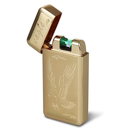 Kivors&reg Elektronisches Feuerzeug Skorpion tragbar USB aufladbar dopple Lichtbogen tragbar (gold1)