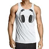 lepni.me Camisetas de Tirantes para Hombre Auriculares para Amantes de la música, Rock and Roll, DJ, Trajes de Fiesta (Medium Blanco