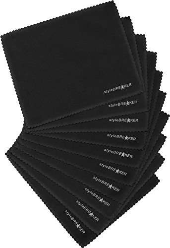 styleBREAKER Microfaser Putztuch Set, 10 Stück, Reinigungstuch für Brillen, Smartphone Displays und Objektive 09020074, Farbe:Schwarz
