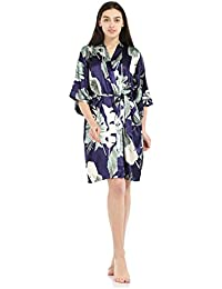 Bata De Seda Femenina Impreso Sexy Ropa De Dormir Kimono Bata De Baño Pijama Camisón Talla