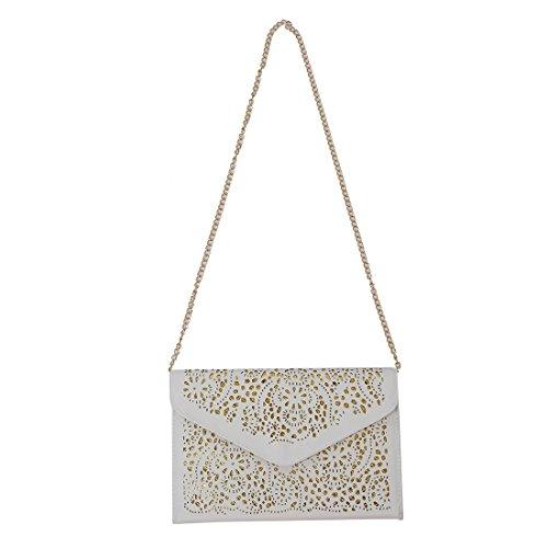 TOOGOO(R) donne Trend della borsa del ritaglio della spalla della busta nazionali Vintage frizione giorno sacchetto Borsello - blu bianco
