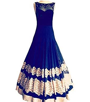 Royal Export Women'S Georgette Dress Material (R Blue Gown_Blue_Free Size)