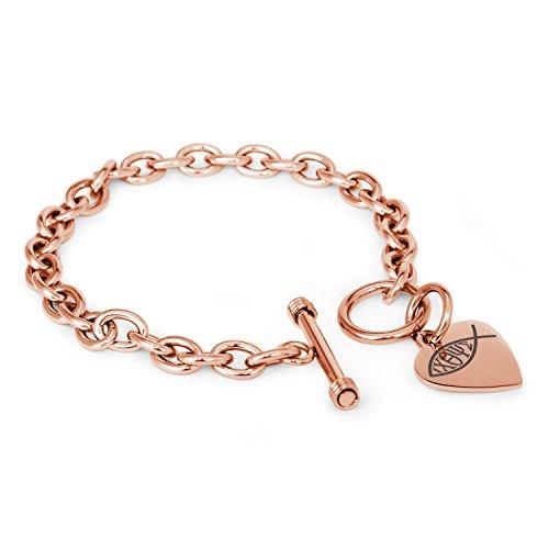 Rose Vergoldet Edelstahl Ichthus Fisch Symbol Gravierte Herz Charme, Armband Nur