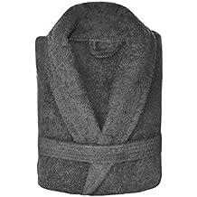 Spa Collection Home Albornoz para hombre y mujer, 100% algodón, 550gsm, tejido de rizo, para adultos, extra absorbente, unisex, tela, Gris, Talla única