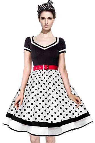 Dot Robe (Axoe Damen Rockabilly Kleid Audrey Hepburn Polka Dots mit 1 Stück Stirnband Weiß Schwarz Gr. 36)