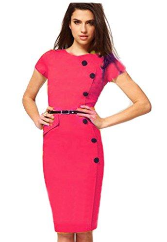 WanYang Damen Retro Kurzarm Classic formale Rockabilly Abendkleid Etuikleid Rose