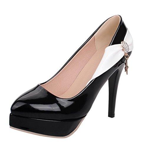 VogueZone009 Femme Pu Cuir à Talon Haut Pointu Couleurs Mélangées Tire Chaussures Légeres Noir