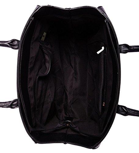 Damen Handtasche Schultertasche Tasche Large Umhängetasche Entwerfer Shopper Henkeltasche, Neu (Schwarz) - 4