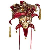 Máscara Decorativa Original Veneciana Hecha A Mano - Decoración Bizantina Cobre Y Oro Con Sombrero Y Puntas De Terciopelo Burdeos Y Papel Venecia Made In Italy