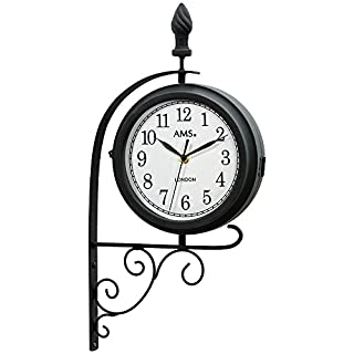 AMS 9433Garden Vintage Retro Metal Wall Clock Quartz Clock Double Sided and Rotating Design, Weatherproof Metal Housing