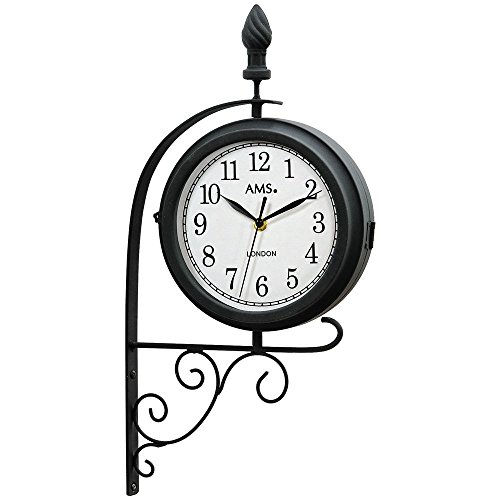 AMS 9433 Garten-Metalluhr Wanduhr Quartzwerk, Uhr doppelseitig und drehbar RETRO Look Vintage Antik Design, wetterfestes Metallgehäuse