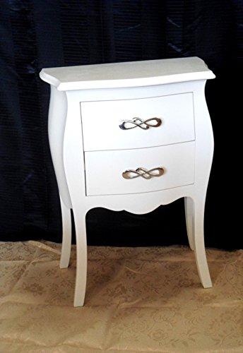 Legno&Design Petite Commode Blanche 2 tiroirs en Bois Massif, bombée et Arrondie Laquée.