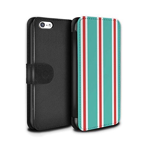 Stuff4 Coque/Etui/Housse Cuir PU Case/Cover pour Apple iPhone 5C / Sarcelle/Rouge Bande Design / Mode Bord Mer Collection Sarcelle/Rouge Bande
