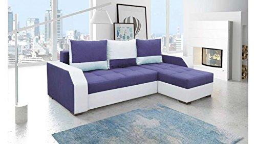 JUSTyou Aris Canapé d'angle Sofa canapé lit Tissu Cuir écologique (HxLxl): 90x245x150 cm Blanc Violet Angle droit