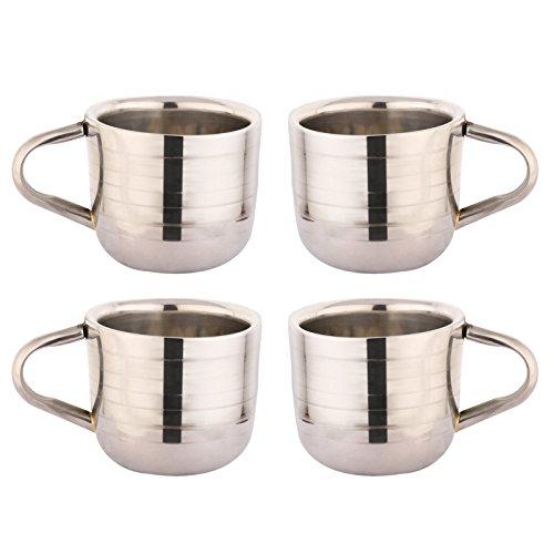 Zap Impex  Edelstahl Espresso Shot Kaffeetasse Set Handmade Cups Kaffeetasse 80ml Satz von 4