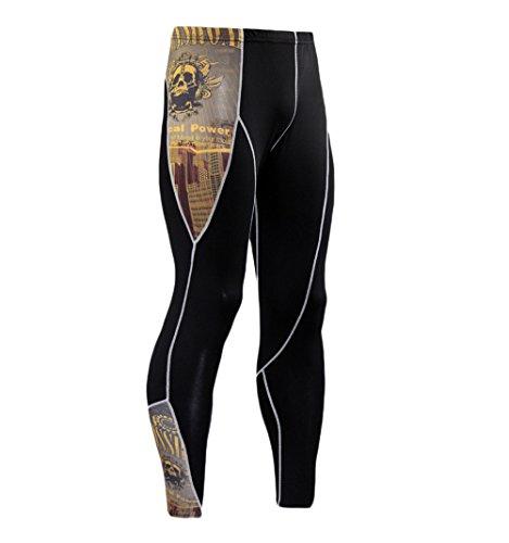 Leggins Hombre Deporte Running Fitness Pantalon Moda Calavera Impresión Outdoor Casual Biker Apretados Leotardos Polainas Mallas