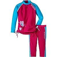 Zunblock Butterfly - Camiseta con manga larga y leggings de natación para niña, color rosa/turquesa, talla 86-92