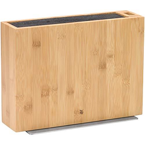 WMF Messerblock ohne Messer, unbestückt, leer, Holz, Bambus, für 5-6 Messer, mit Kunststoff-Bürsteneinsatz, Scheren-Aufbewahrung